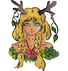 girl with horns from the fairy forest vector image