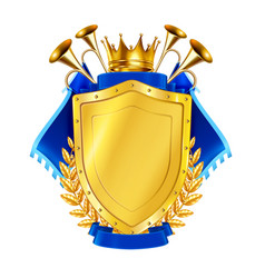golden shield with horns and pennants vector image