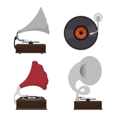 Gramophones set isolated icon design vector