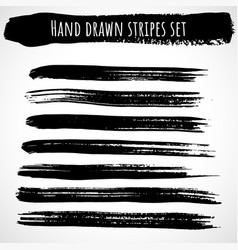 hand drawn brush stripes set thin vector image