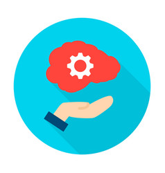 hand holding human brain circle icon vector image