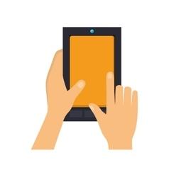 Hands touch screen a cellphone vector