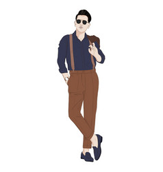 handsome hand drawn guy in stylish elegant vector image