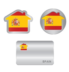 Home icon on the Spain flag vector image