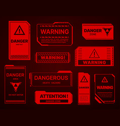 hud danger zone warning and alert attention signs vector image