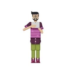 isolated European dark-haired man vector image