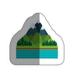 Isolated lake and pine tree design vector