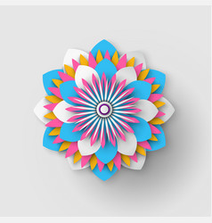 japanese origami flower isolated paper cut vector image
