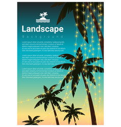 Landscape background with palm trees vector