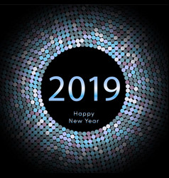 lilac discoball new year 2019 greeting poster vector image