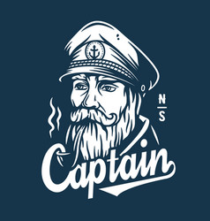 marine sailor captain with pipe nautical skipper vector image