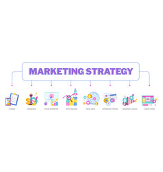 Marketing strategy infographic pictogram flat vector