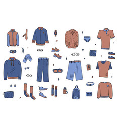 men clothes and accessories set in doodle style vector image