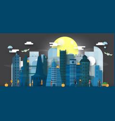 Minimal scene of future city for halloween day 31 vector