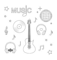 music guitar record headphones disco vector image