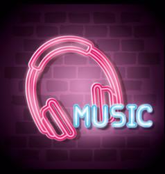 music iluminated neon label vector image