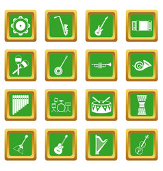 Musical instruments icons set green vector