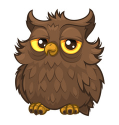 old wise fluffy owl brown color vector image