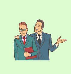 one businessman comforts supports sympathetic vector image