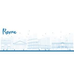 Outline Rome skyline vector image