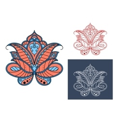 Persian paisley flower with retro ornament vector image