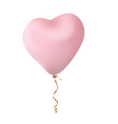 pink heart shaped ball gold thread on white vector image