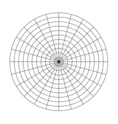 Polar grid of 10 concentric circles and 15 degrees vector