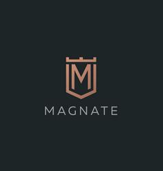 premium monogram letter m initials logotype vector image