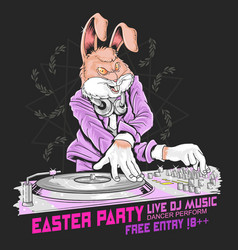 rabbit easter dj party vector image