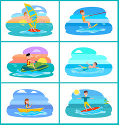 Rafting and summer sport set vector