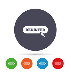 register with cursor pointer icon membership vector image