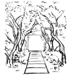 Road graphic black white landscape sketch vector