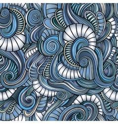 Seamless abstract hand-drawn waves pattern vector