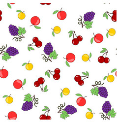 seamless pattern with fruits on a transparent vector image