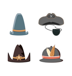 Set hats carnival accessories vector