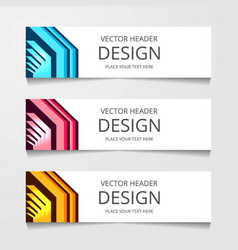 set horizontal web banner with three different vector image