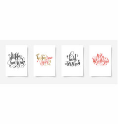 set of 4 hand lettering posters - happy new year vector image