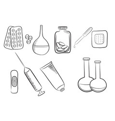 set of different medical icons various drugs vector image