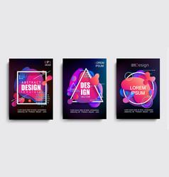 Set of liquid gradient color abstract shapes vector