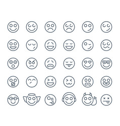 set thin line smile emoticons or smileys on a vector image