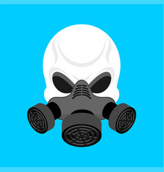 skull in respirator skeleton head and gas mask vector image