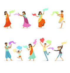 Smiling people dancing in national indian costumes vector