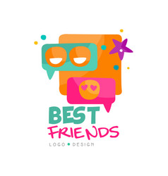 Social network logo template for best friends vector