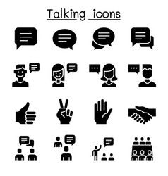 Speech discussion speaking meeting hand language vector