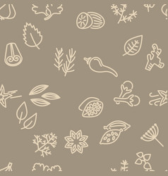 spice seamless pattern in brown colour vector image