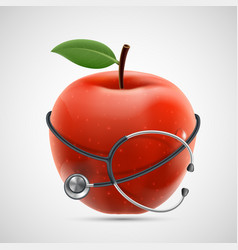 stethoscope around a red apple vector image