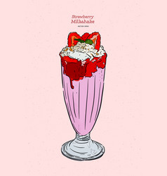 strawberry milkshake hand draw sketch vector image
