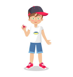 template of little boy withspinner toy vector image