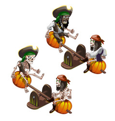 the skeletons of dead pirates swinging on a swing vector image