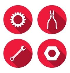 Tool icon set Cogwheel bolt nut wrench key vector image